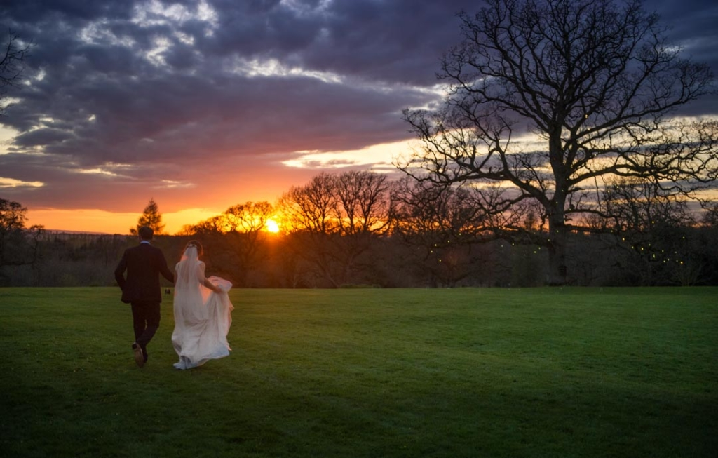 Bride and groom walking towards a tree lit with fairy lights at sunset at Rathsallagh House