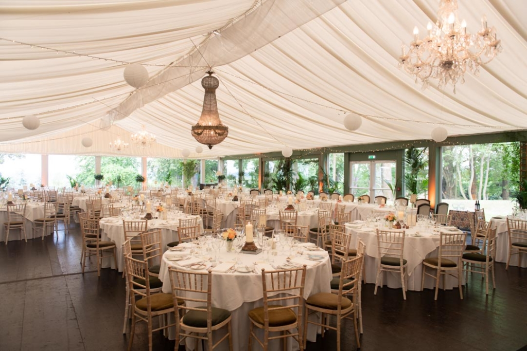 The marquee set up for the wedding dinner at Tinakilly House in one of the best wedding venues in Ireland