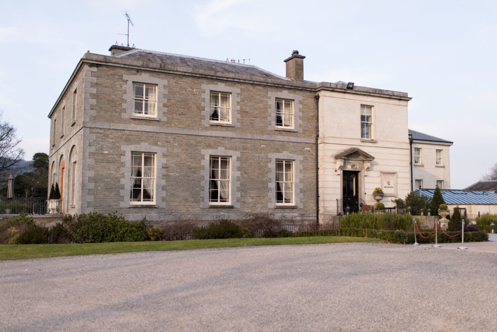 Outside the front of the Tankardstown House wedding venue in Ireland
