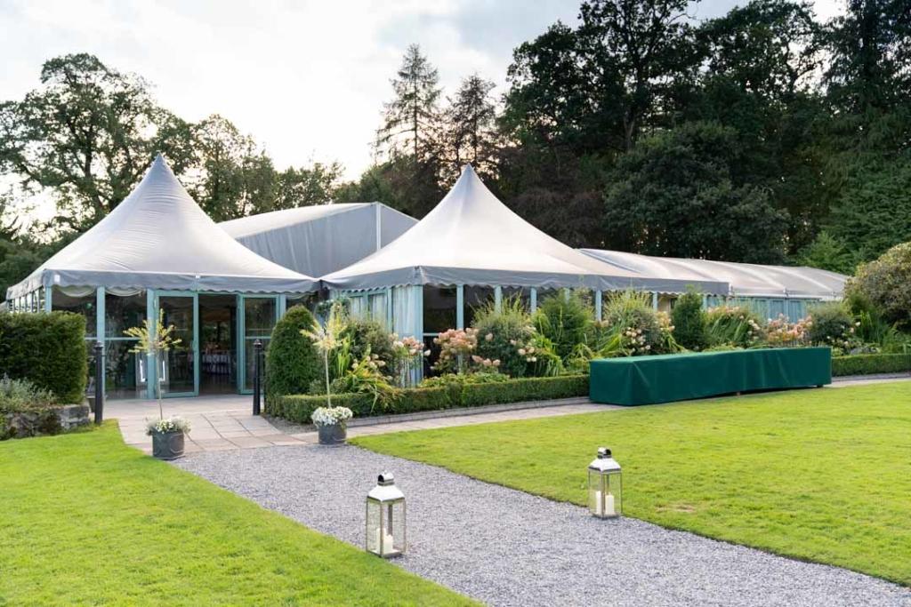 The wedding marquee at the Virginia Park Lodge wedding venue in Ireland