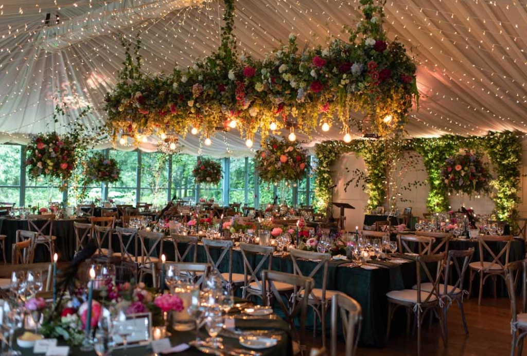 wedding reception room at the Virginia Park Lodge one of the best wedding venues in Ireland