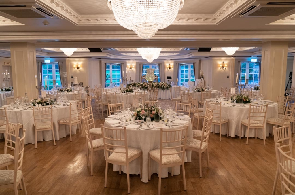 The dinner reception room in Bellingham Castle in Ireland