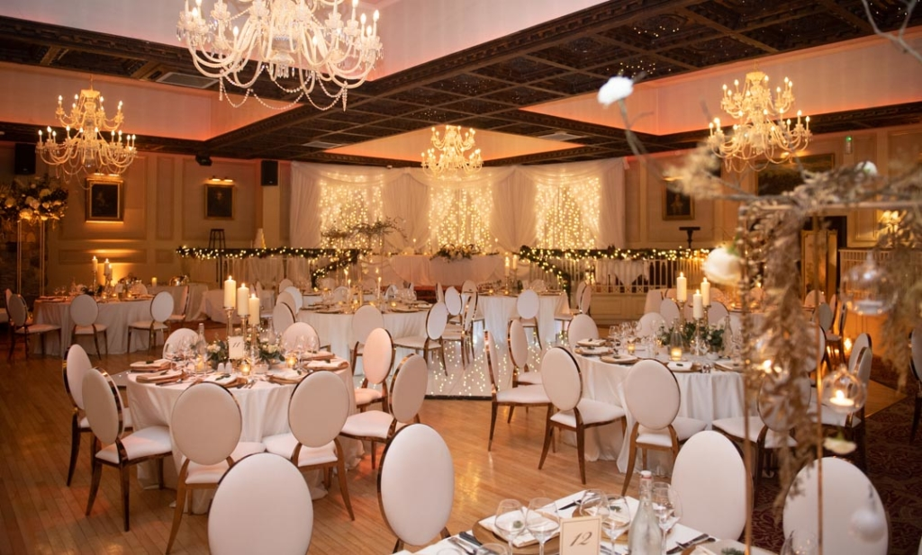 The Dinner reception room set out for a wedding at Cabra Castle in Cavan