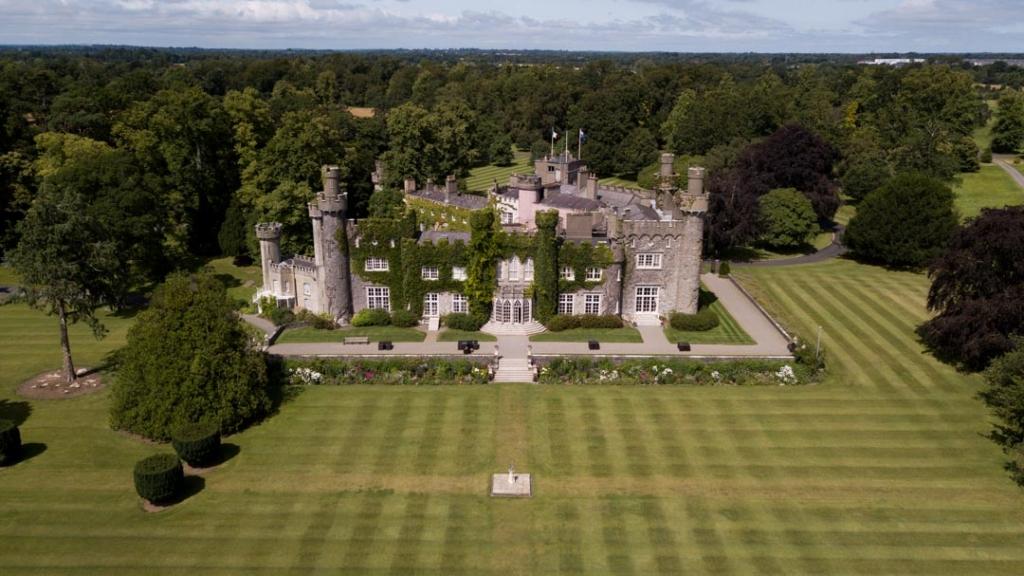 Aerial view of Luttrellstown Castle wedding venue in Ireland