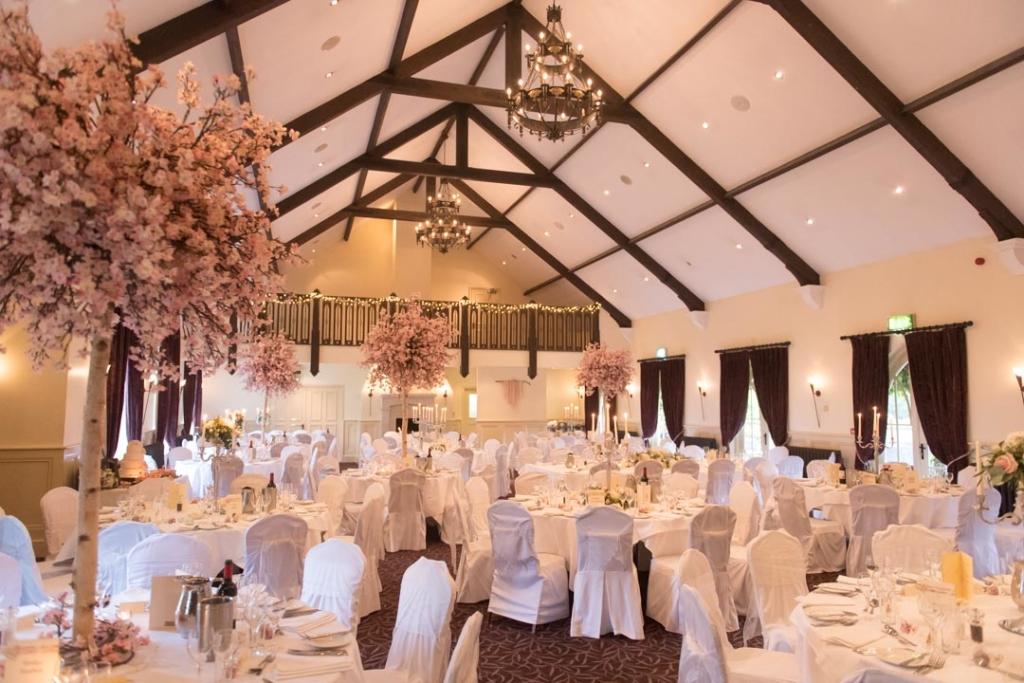 Wedding reception room at the Brooklodge wedding venue
