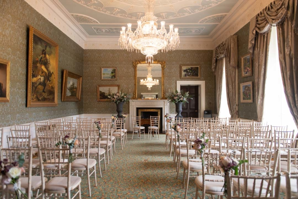 The wedding ceremony room at the K Club Hotel in Ireland