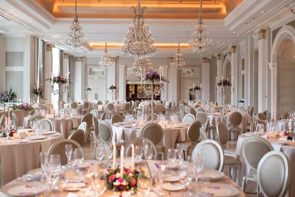 Top wedding venues in Ireland The wedding reception room set up for a wedding at the Adare Manor Hotel