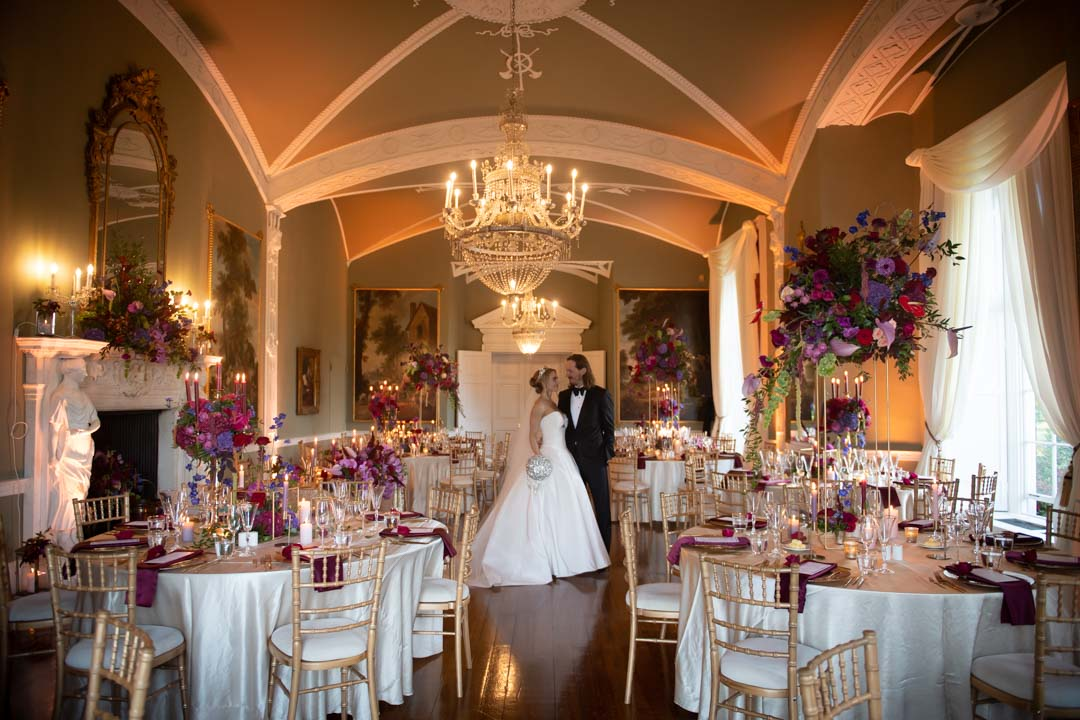 couple in wedding reception room at their Luttrellstown castle wedding in ireland
