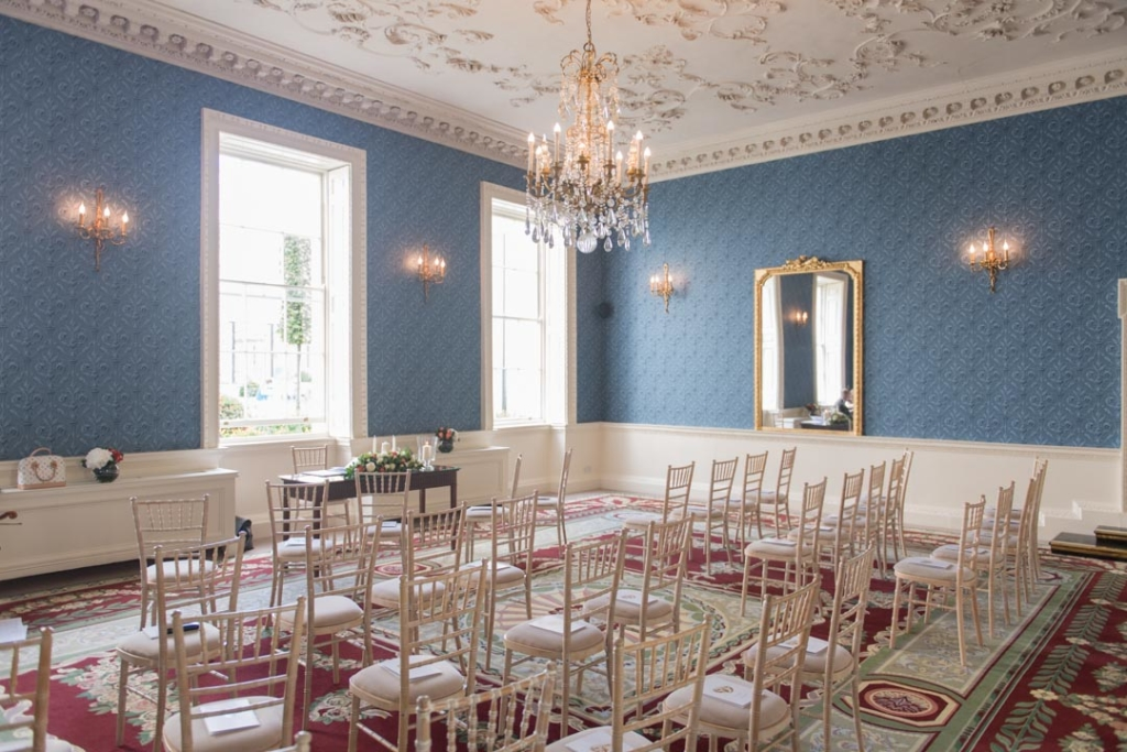 A room in the Merrion Hotel set up for a wedding ceremony