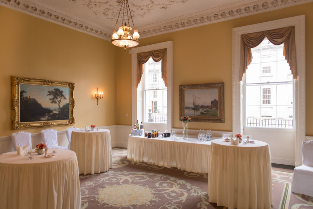 The drinks reception room set up for a wedding at the Merrion Hotel in Dublin