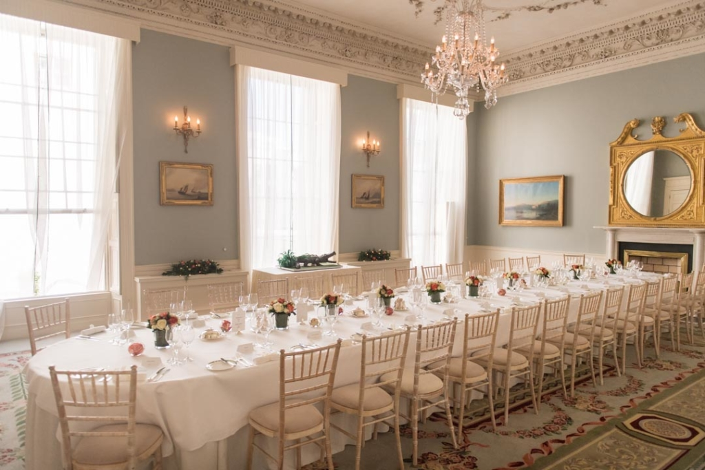 The Dinner reception room set up for a wedding at the Merrion Hotel in Dublin