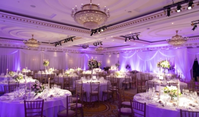 The wedding reception room at the Powerscourt Hotel in Ireland