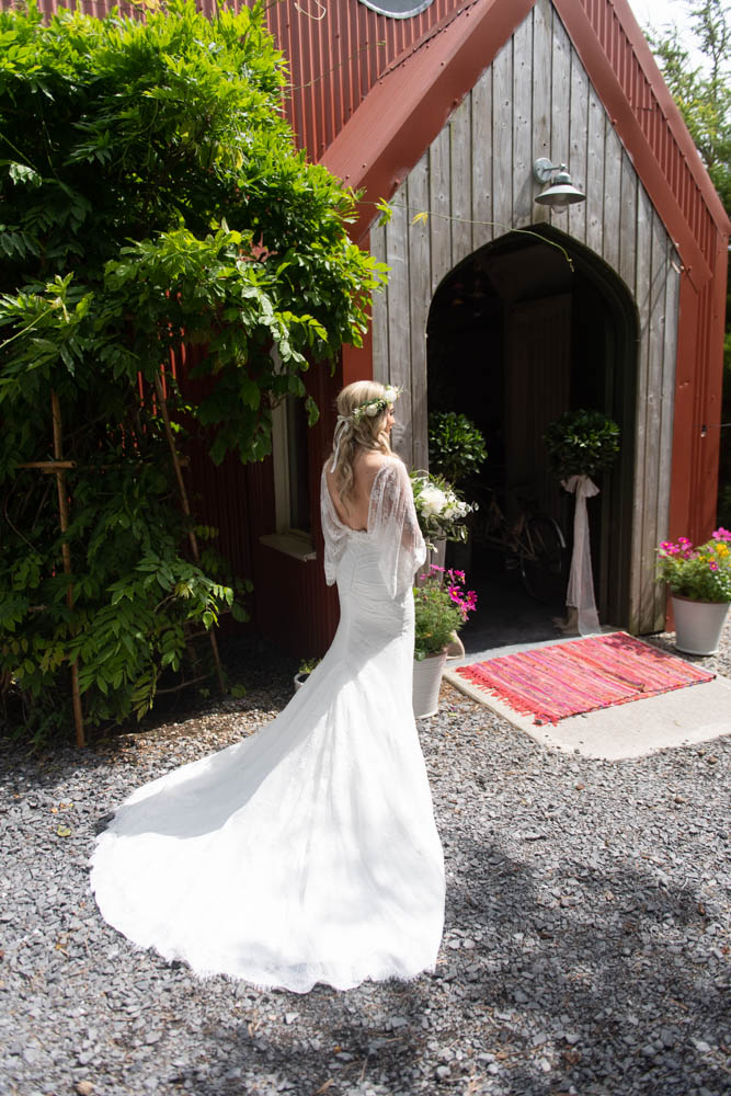 Back of the Bride about to enter into the Tin Chapel at Mount Druid