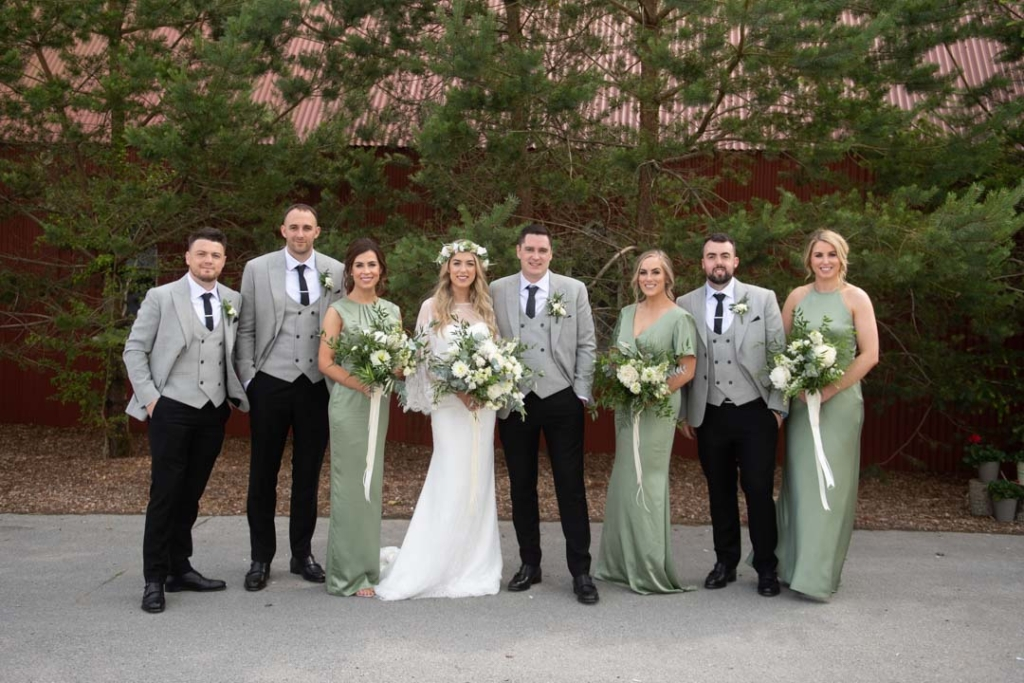 Bride and Groom and their bridal party at Mount Druid