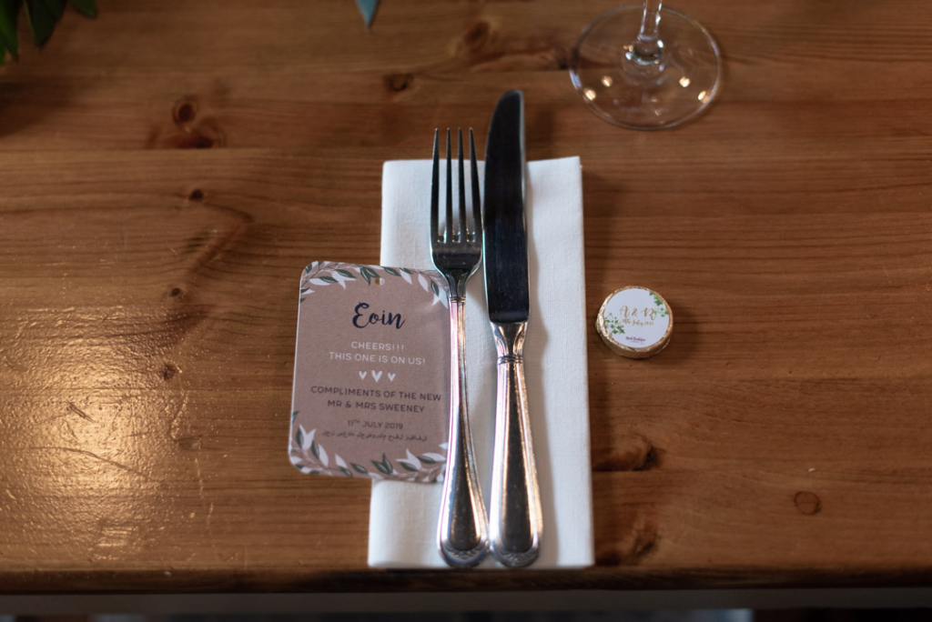 Knife, Fork and napkin and place name card for wedding at Mount Druid