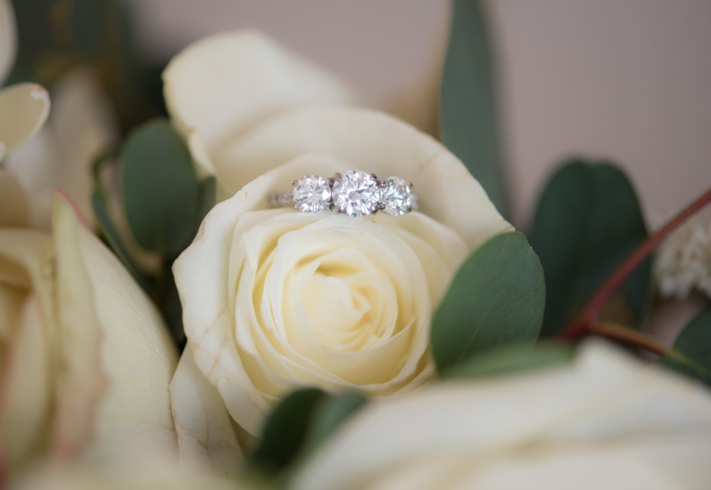 Brides three stone engagement ring