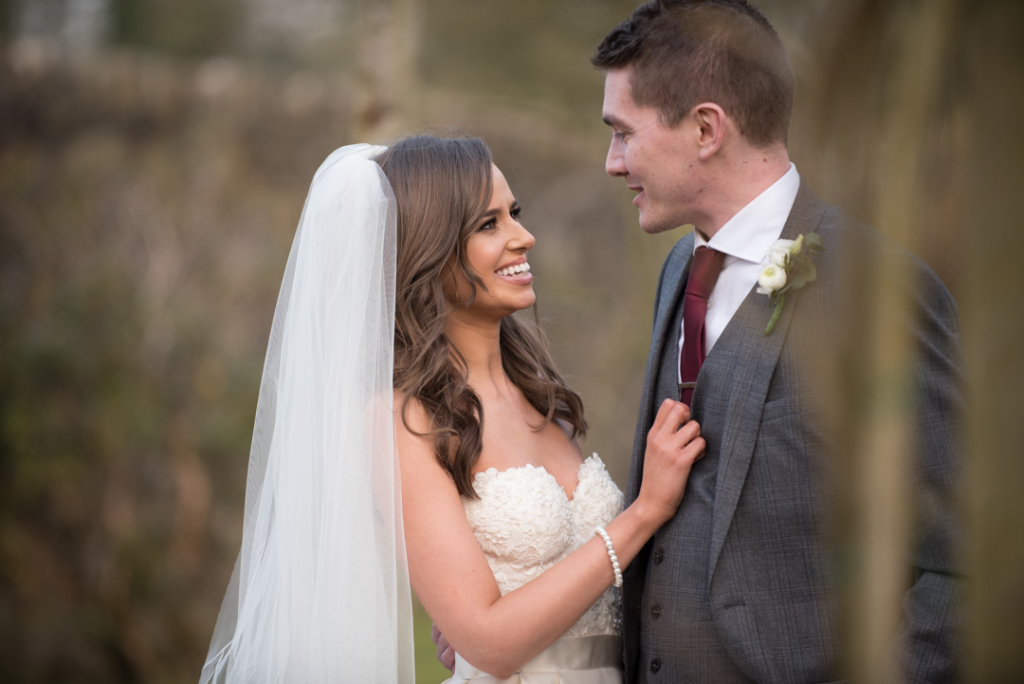 The Bride and Groom looking at each other during their Tankardstown House wedding photo shoot