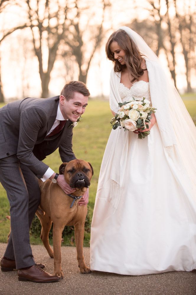 Bride and Groom with the dog at Tankardstown House