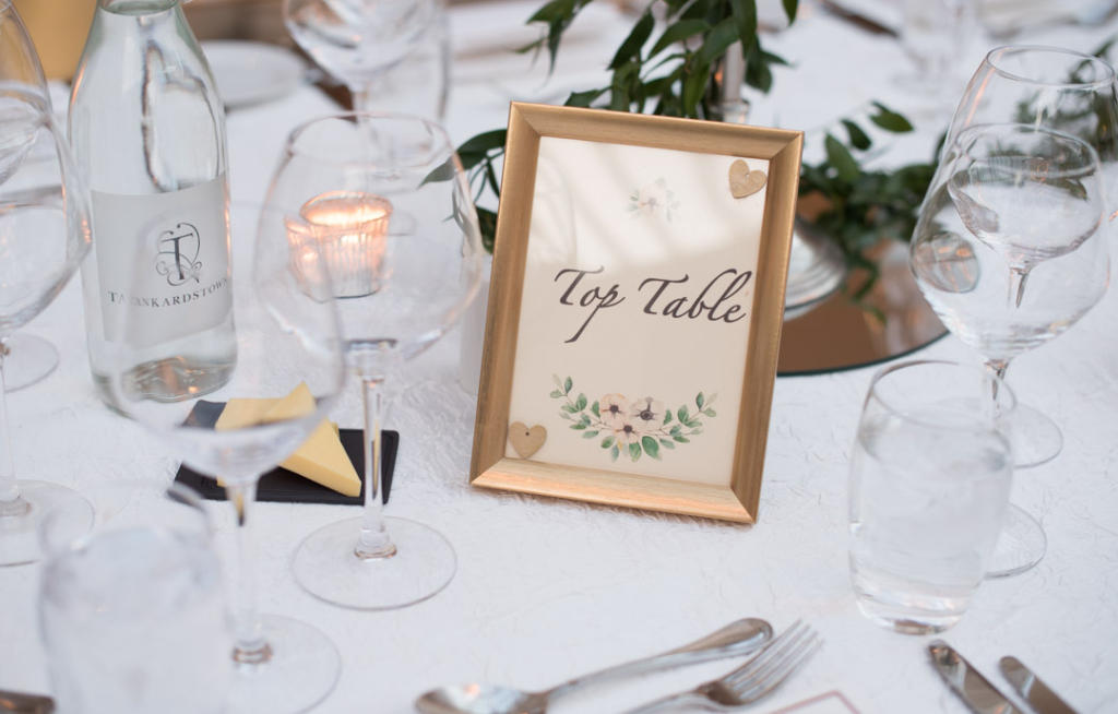 Table name at the Tankardstown House wedding