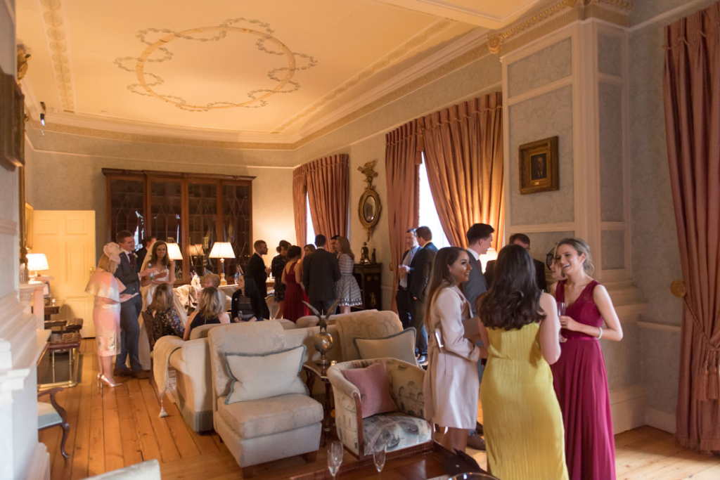 Wedding guests at the drinks reception at the Tankardstown House wedding