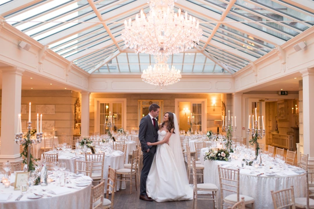 Bride and Groom standing in the middle of the wedding reception room at Tankardstown House