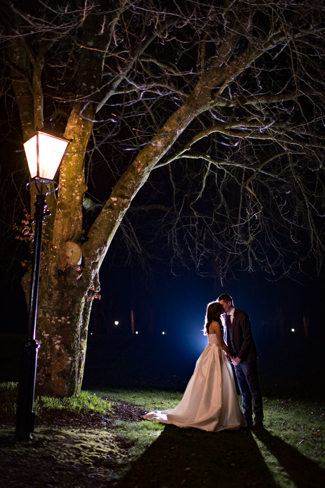 Bride and Groom outside at night kissing beside a lantern and tree on the grounds of Tankardstown House