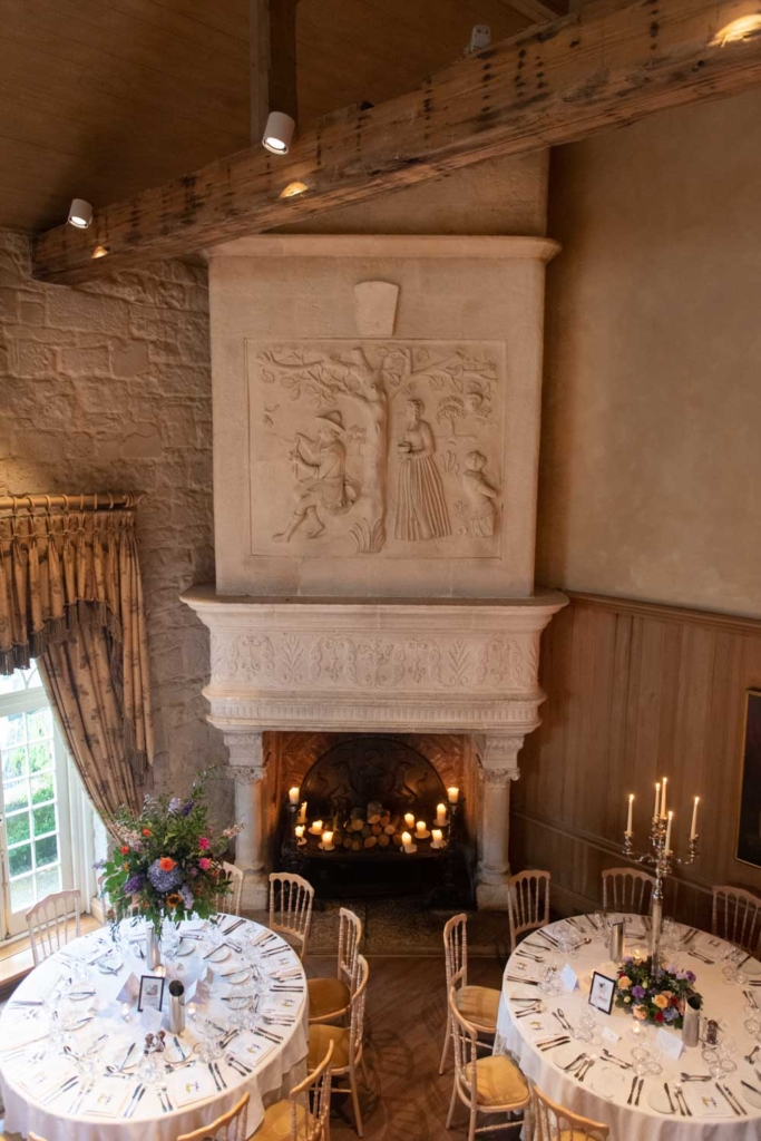 The big fireplace in the function room at the Cliff at Lyons wedding