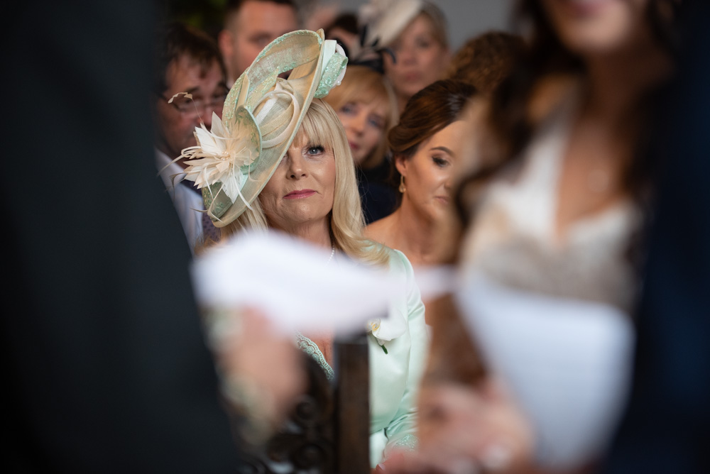 The Mother of the Groom during the ceremony at Luttrellstown Castle