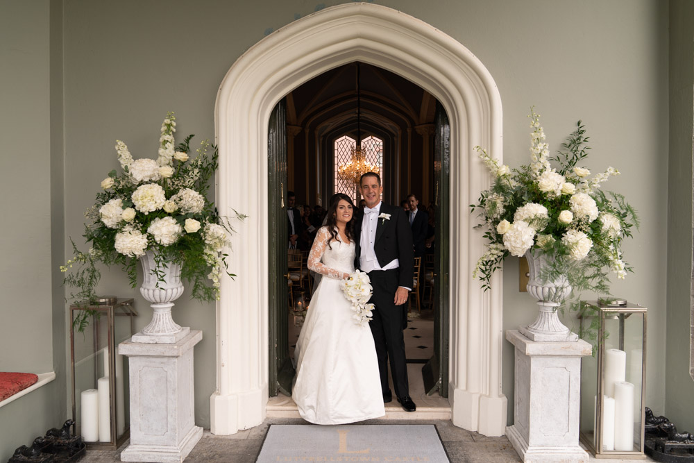 The Bride and Groom at the entrance of Luttrellstown Castle