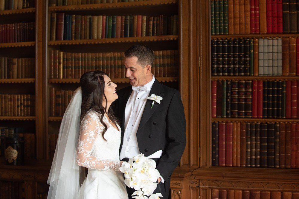 Bride and Groom in the library in Luttrellstown Caslte