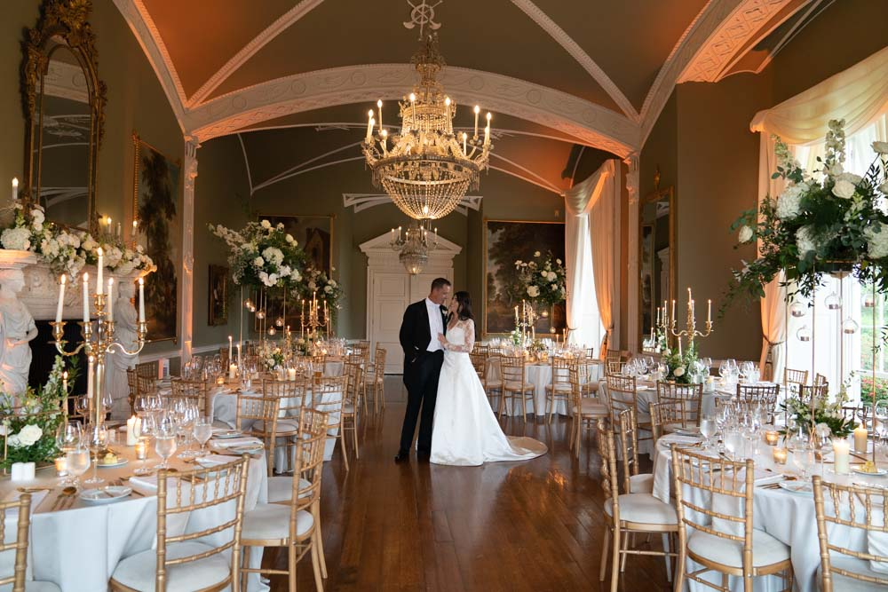 Bride and Groom in the wedding reception room at Luttrellstown Castle