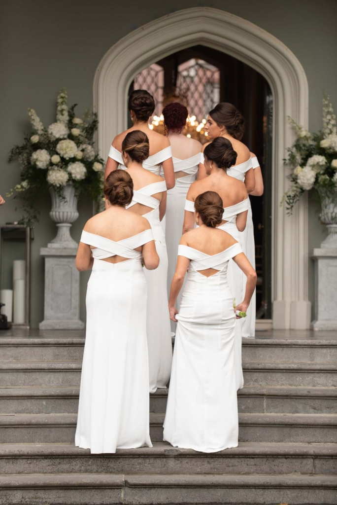 The bridesmaids going into Luttrellstown Castle for the wedding ceremony