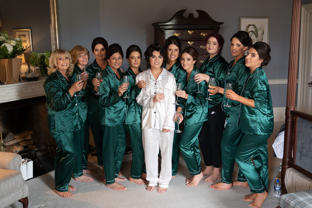 Bride and her bridesmaids in their wedding pjs